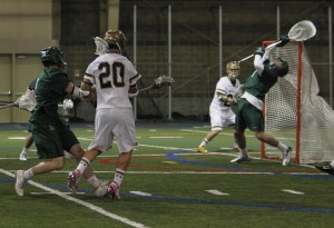 Nick Osello scored two goals and won 12/19 faceoffs.