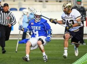 Matt Landis  contained Duke to five goals in the first half.