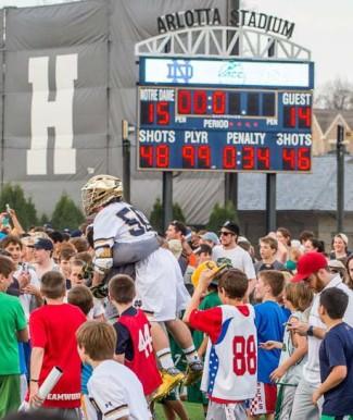 Notre Dame defeated North Carolina 15-14 at Arlotta Stadium.