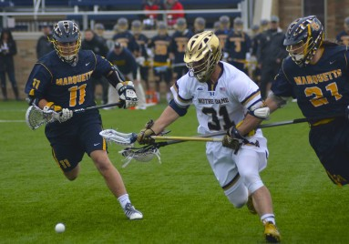 Sophomore PJ Finley gave the Irish the ball, winning 12 of 19 faceoffs.